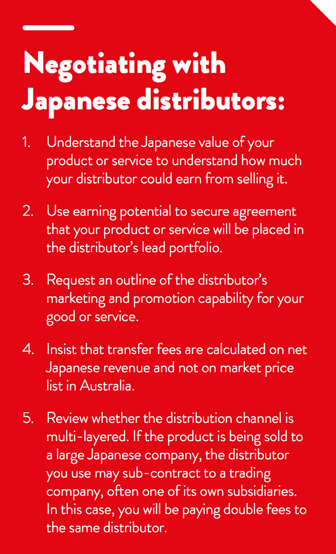 Using agents and distributors in Japan